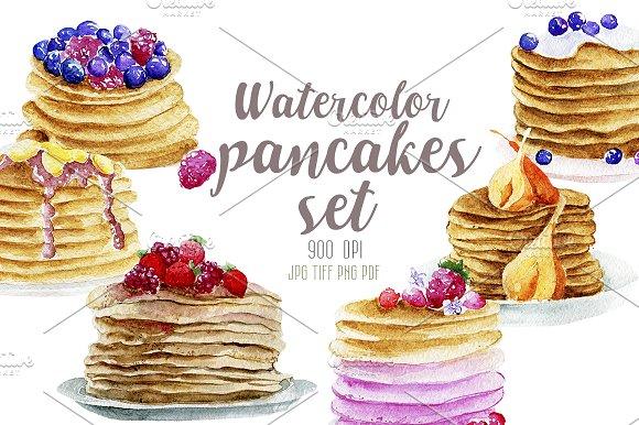 Watercolor 6 pancakes set