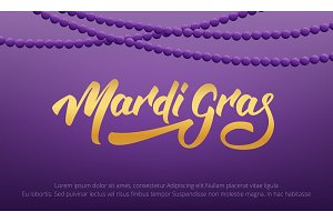 Mardi Gras. Background with Mardi Gras lettering and purple beads
