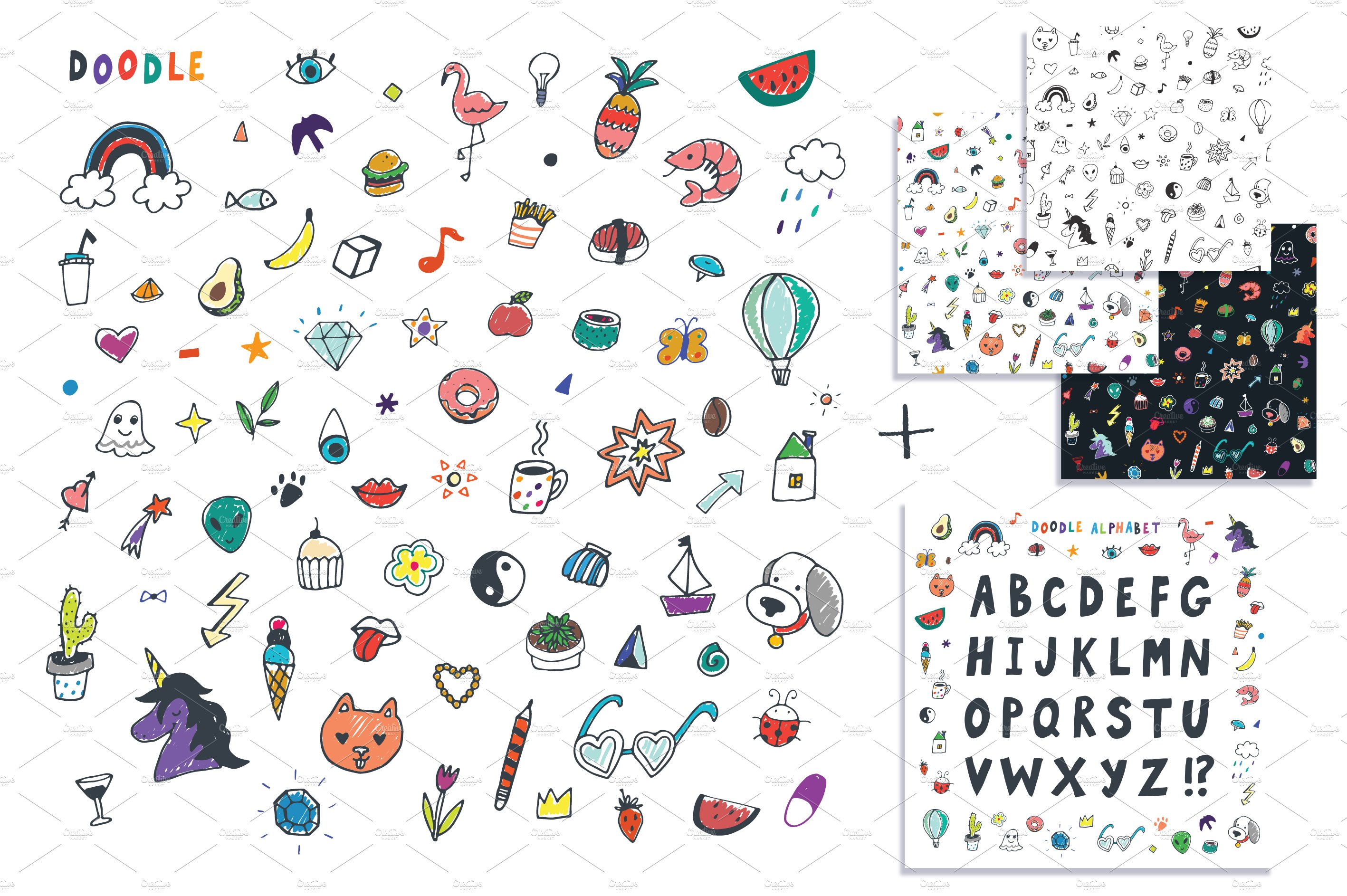 item on colorful paper doodle back makiplace business of diamond set