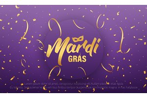 Mardi Gras. Background with Mardi Gras lettering and gold shiny confetti