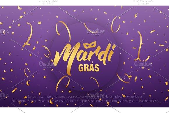 Mardi Gras Background With Mardi Gras Lettering And Gold Shiny Confetti