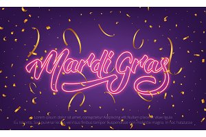 Mardi Gras. Background with Mardi Gras neon lettering and gold confetti