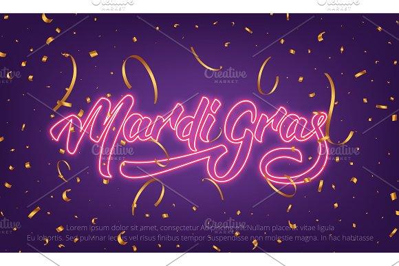 Mardi Gras Background With Mardi Gras Neon Lettering And Gold Confetti