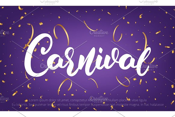 Carnival Banner With Carnival Lettering And Gold Shiny Confetti