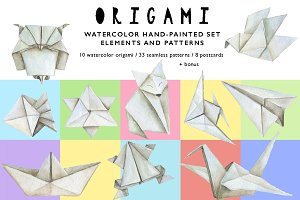 ORIGAMI Watercolor Design Set