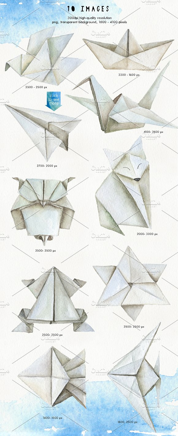 ORIGAMI Watercolor Design Set Graphic Objects Creative Market
