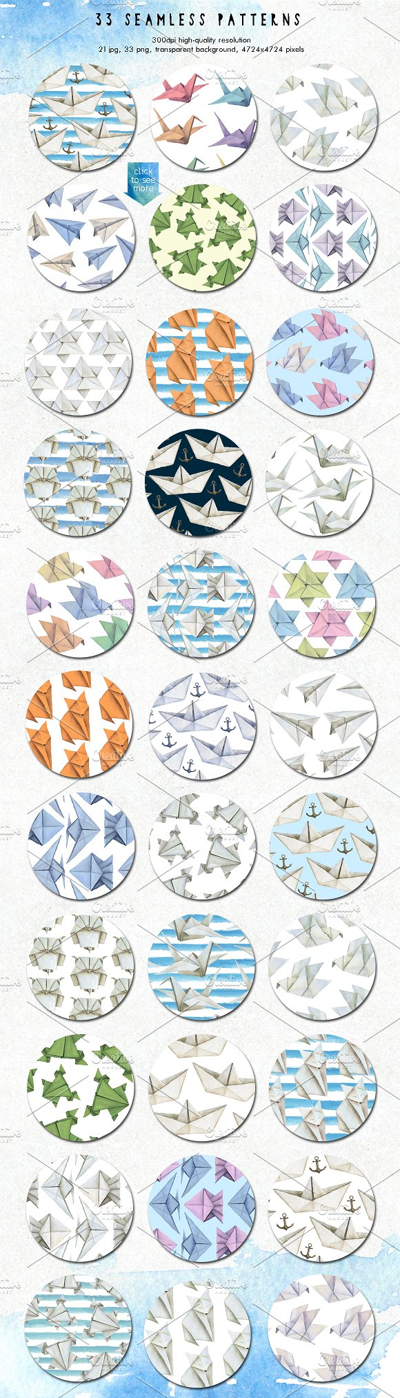 35off Origami Watercolor Design Set Graphic Objects Creative Market Christmas Bird Feeder Diagram