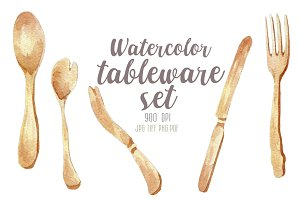 Watercolor tableware set