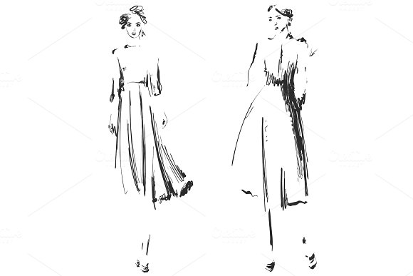 Beautiful Young Girll For Design Fashion Model Style Sketch Drawing Sexy Woman Dress