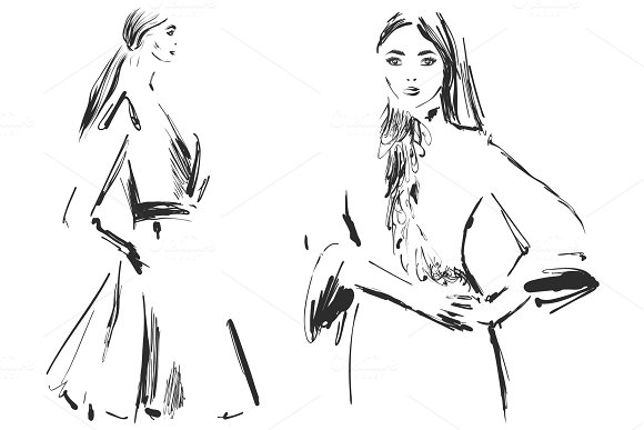 Vector Graphic With Beautiful Young Girl Model For Design Fashion Style Youth Beauty Sketch Drawing Sexy Woman Dress