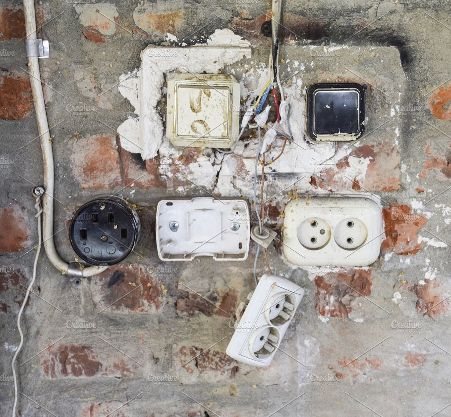 Old panel with switches and sockets. Old electrical wiring ... on plug with switch, bolt with switch, relay with switch, wiring with switch, usb with switch, box with switch, adapter with switch, handle with switch, resistor with switch, extension with switch, capacitor with switch,