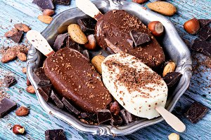 chocolate ice cream with nuts
