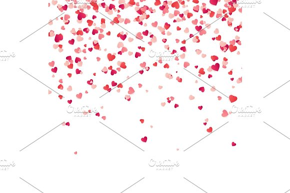 Heart Confetti Valentines Womens Mothers Day Background With Falling Red And Pink Paper Hearts Petals Greeting Wedding Card February 14 Love.White Background