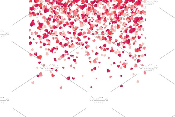 Heart Confetti Valentines Womens Mothers Day Background With Falling Red And Pink Paper Hearts Petals Greeting Wedding Card February 14 Love