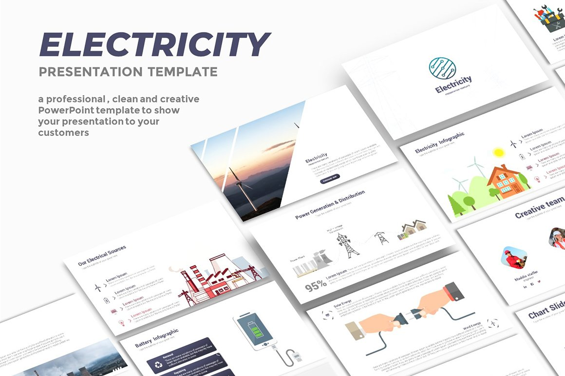 Electricity powerpoint template presentation templates creative electricity powerpoint template presentation templates creative market toneelgroepblik Gallery