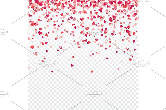 Heart Confetti Valentines Womens Mothers Day Background With Falling Red And Pink Paper Hearts Petals Greeting Wedding Card February 14 Love.Transparent Background