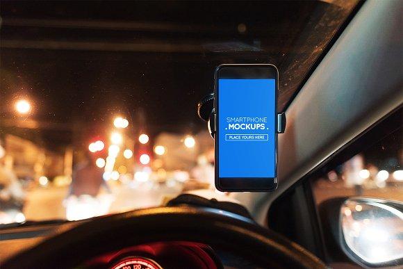 Smartphone In Car Mockup #9