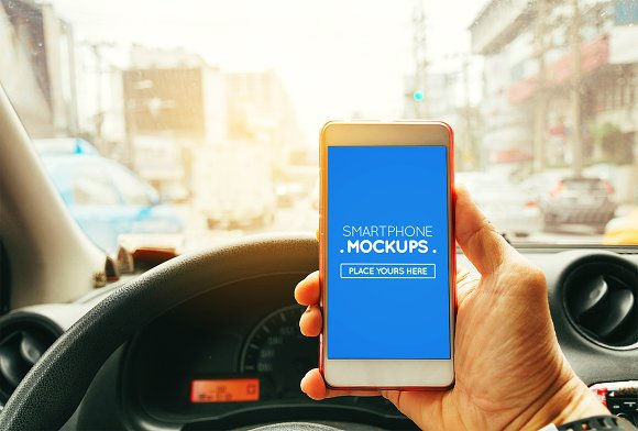 Smartphone In Car Mockup #11
