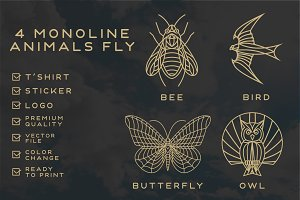 monoline fly animals (50%OFF)