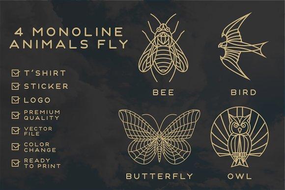 Monoline Fly Animals