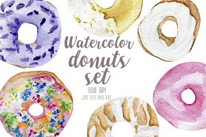 Watercolor donuts set