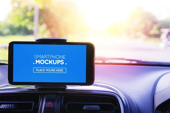 Smartphone In Car Mockup #12