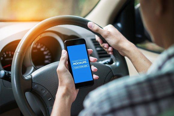 Smartphone In Car Mockup #15