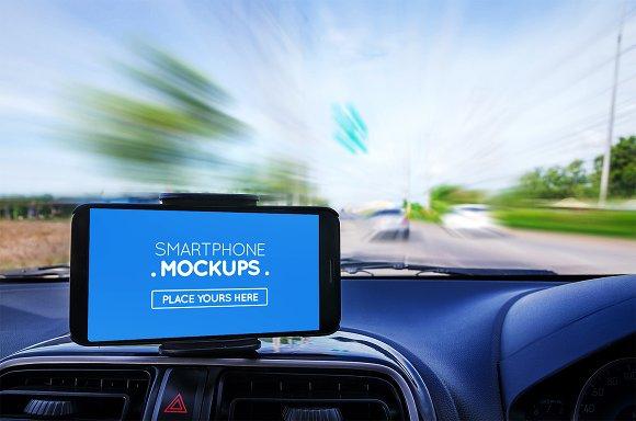 Smartphone In Car Mockup #16