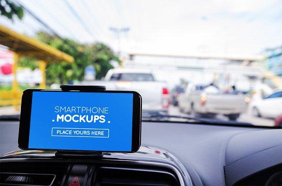 Smartphone In Car Mockup #17