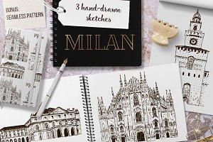 Set of Milan sketches