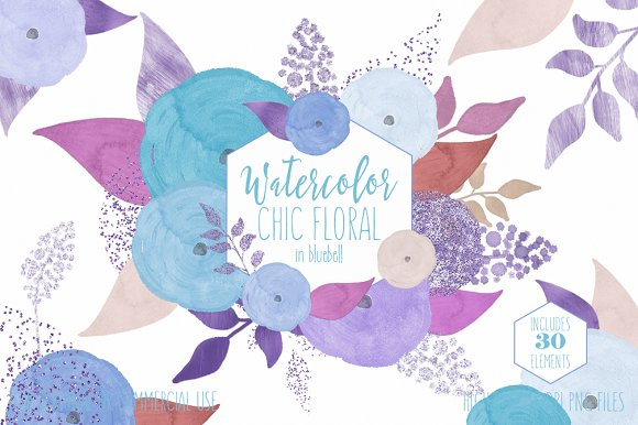 Simple Watercolor Flowers Blue