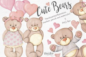 Cute Bears Hand Painted Collection