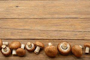 Champignon mushrooms on table