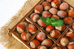 Walnut hazelnuts in a square wooden box with dividers on a white wooden table.