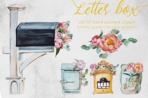 Watercolor Letter Box Clipart Set