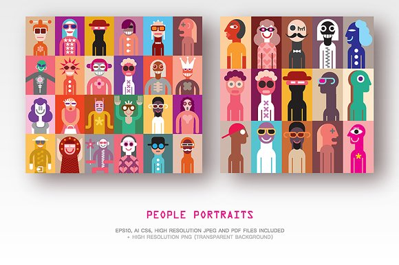 Set Of People Portraits