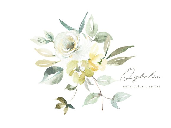 Ophelia Watercolor Clip Art