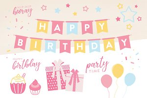 Birthday Party Decoration Vectors