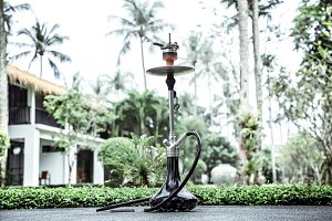 smoking hookah on vacation