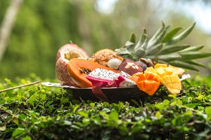 Exotic fruits on a tray