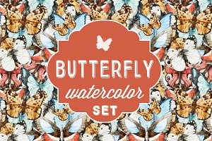 Watercolor butterfly set