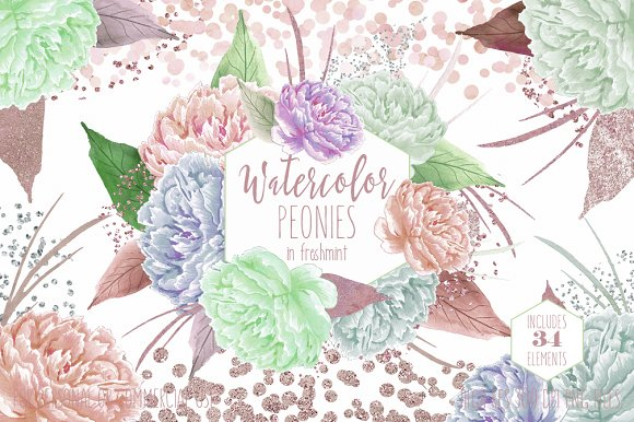 Freshmint Watercolor Peonies