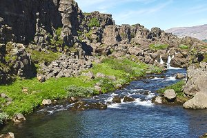 walking in Thingvellir National Park, Iceland