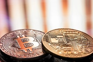 Coin litecoin and Bitcoin closeup on a beautiful background, concept of a digital cryptocurrency and payment system