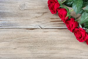 Traditional Red Roses on Wood