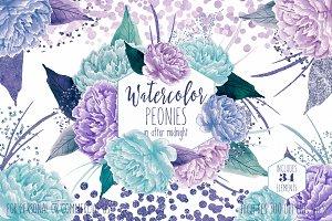 Watercolor Peony Flowers Teal Purple