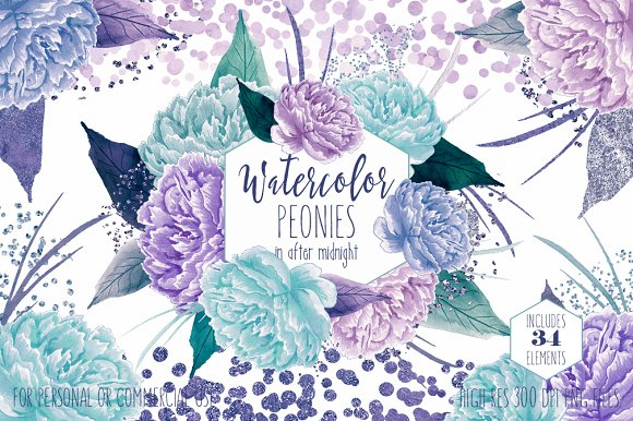 Watercolor Peony Flowers Teal Purple