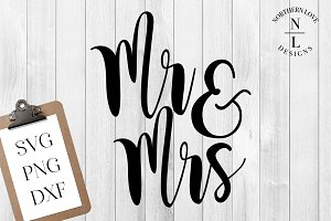 Mr & Mrs SVG PNG DXF