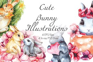 Cute Bunny. Watercolor illustrations