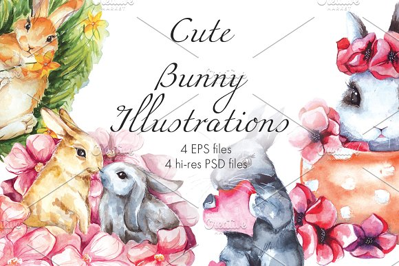 Cute Bunny Watercolor Illustrations